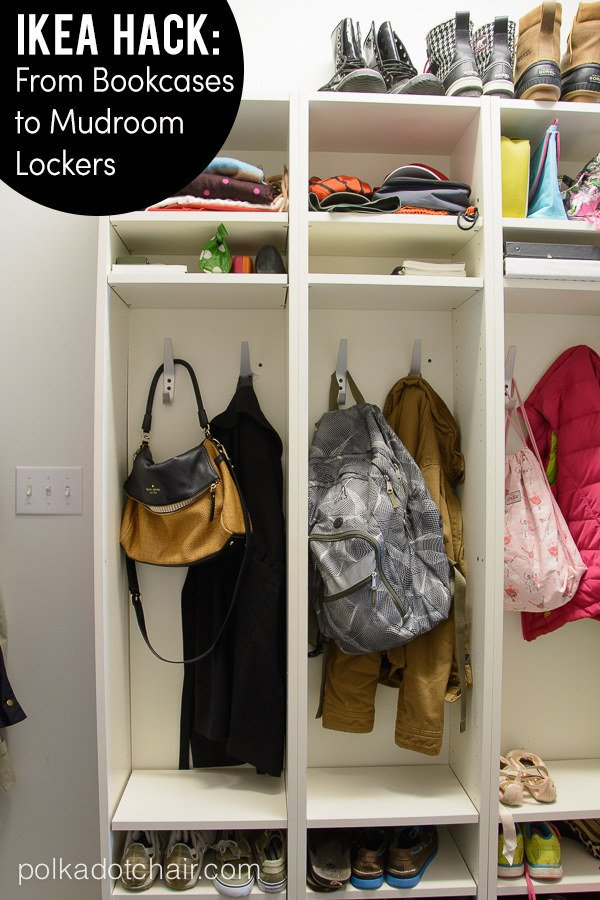 4 Organize your mudroom with Ikea bookcases via simphome
