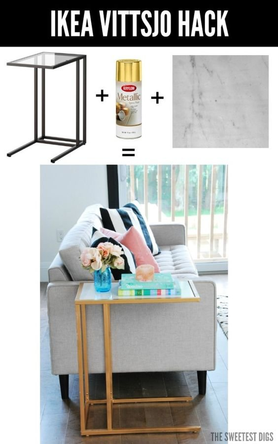 11 Turn the Vittsjo Into A Gold And Marble Side Table via simphome