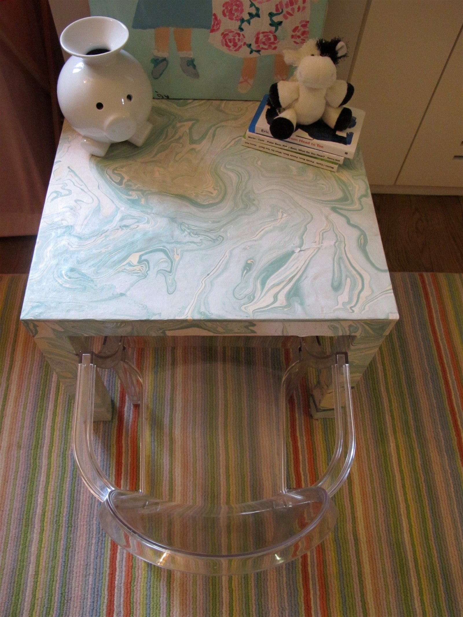 26 Ikea Lack Hack With Marbled Paper via simphome