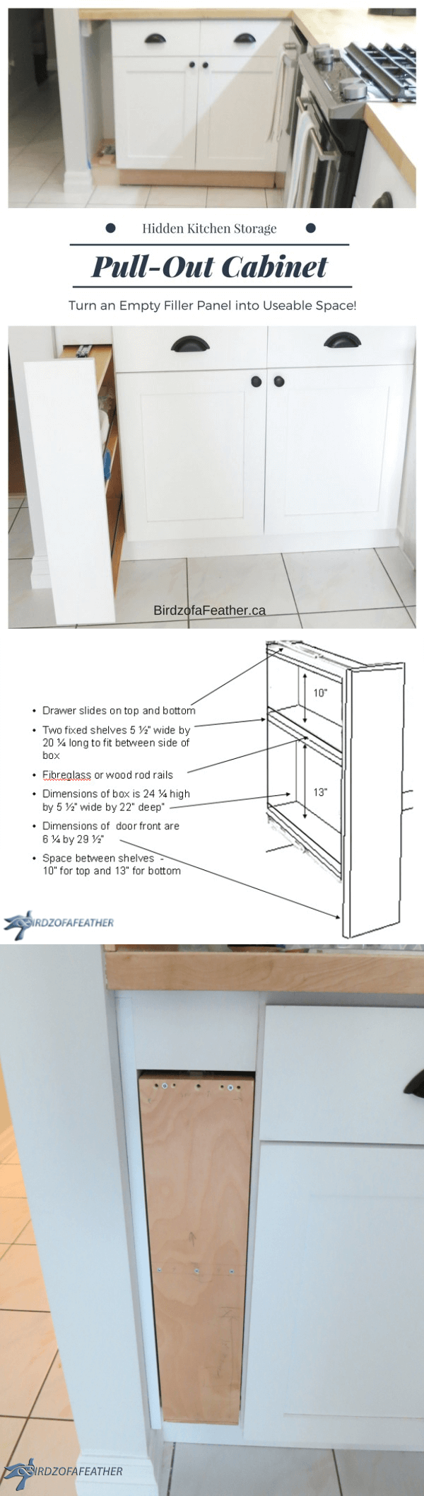 Process Filler Strip into a Pull Out Cabinet