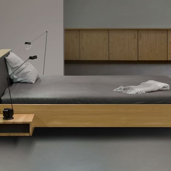4 Floating Bed with Extra Storage Simphome