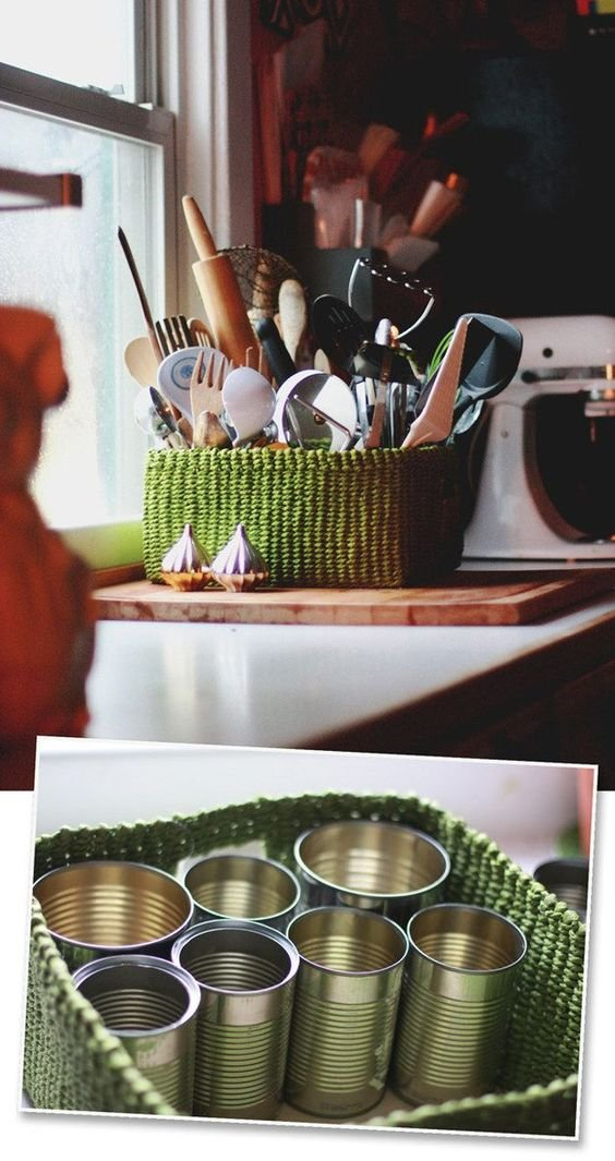 186 Turn a basket and clean aluminum cans into a sorted organizer for your kitchen or bathroom via simphome
