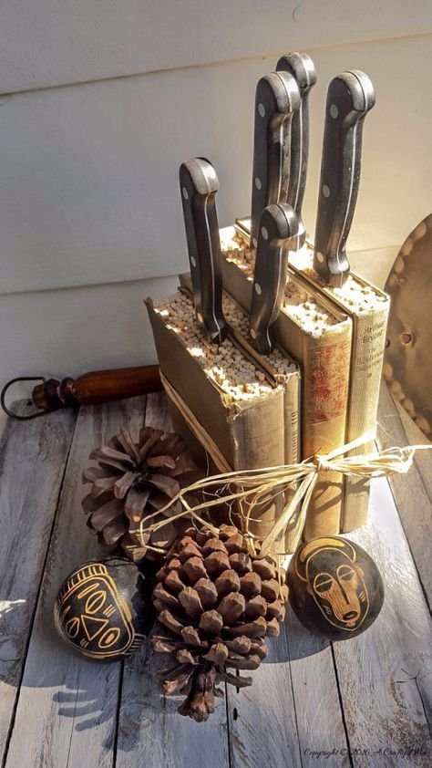 305 Kitchen knife storage from old book via simphome