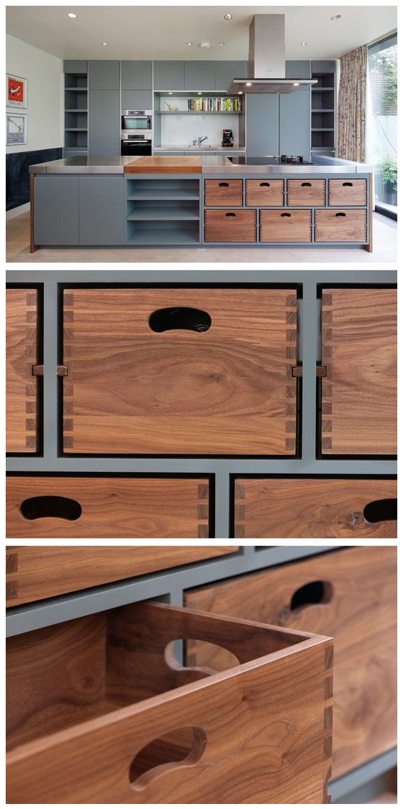 323 kitchen island with removable dovetail boxes via simphome