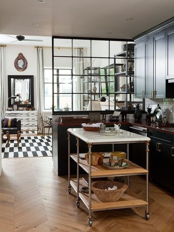 38 Repurpose an old window for kitchen separation and mobile kitchen island
