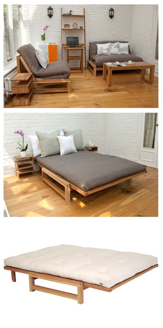 41 Linear 2 Seater Solid Oak Double Sofa Bed Simphome