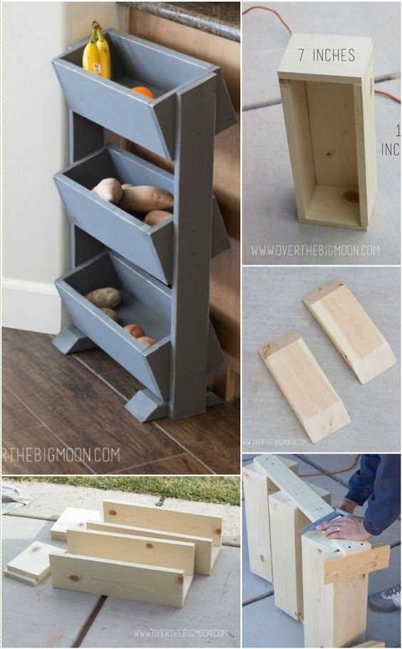 58 Wooden Vegetable and Fruit Organizer via Simphome