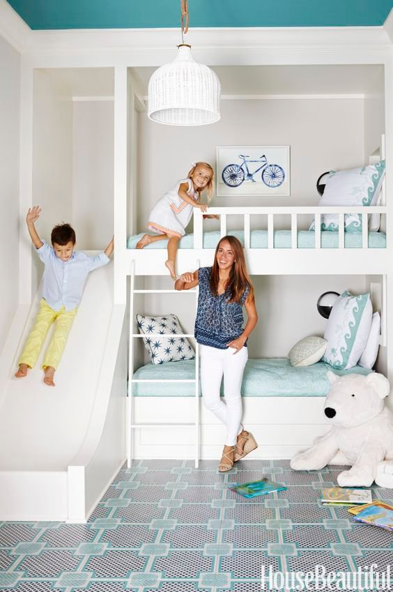 88 Kids Bedroom white walls and teal ceiling Simphome