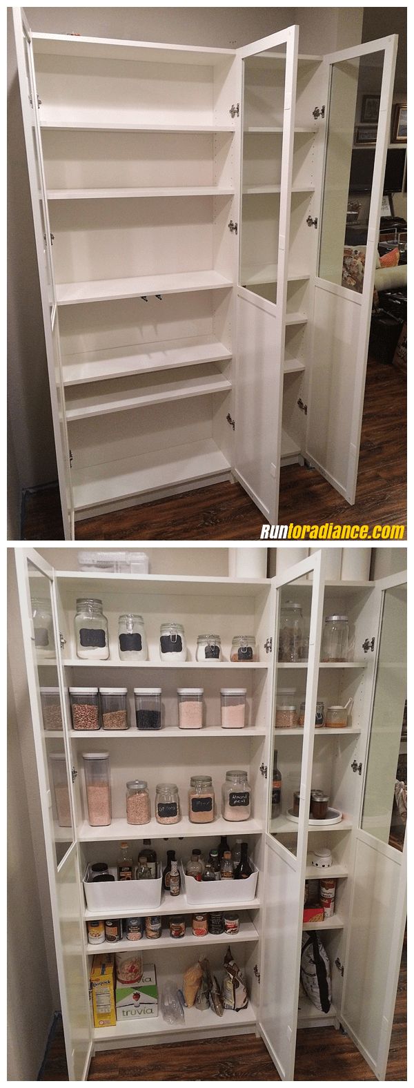 21 IKEA billy bookcase coverted as a pantry storage via simphome