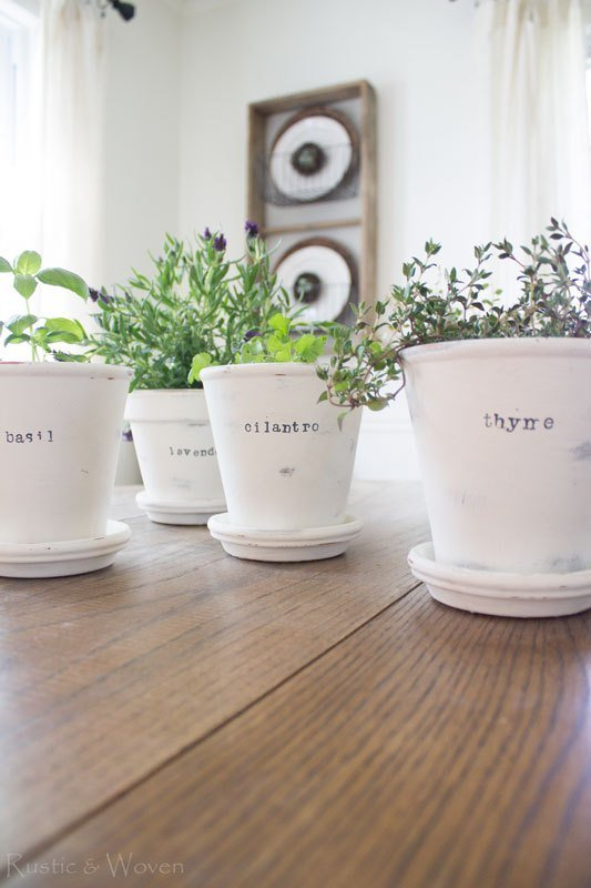 60 Chalk Painted for your indoor Herb Planters via simphome