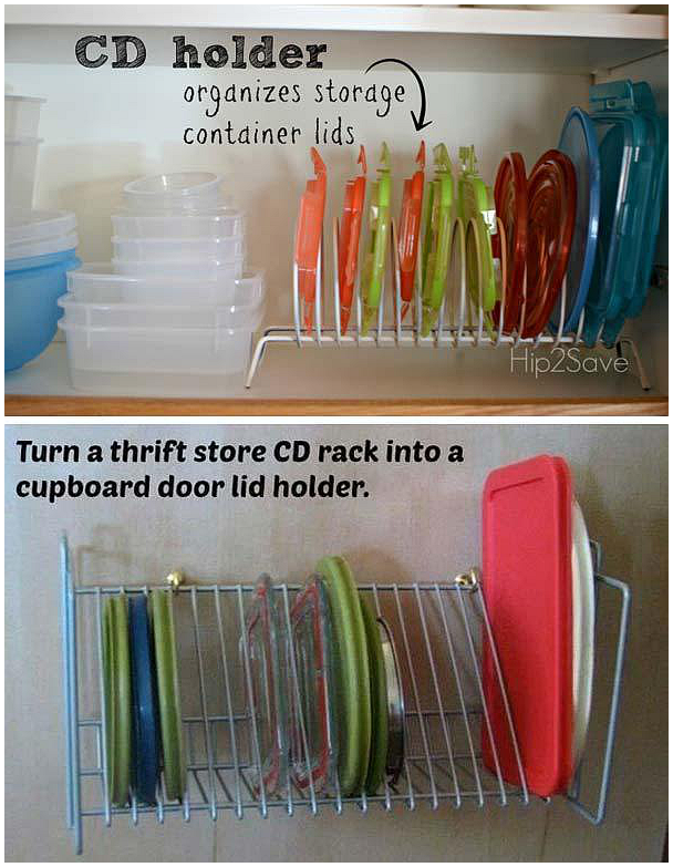7 CD Holders to Organize Container Lids and Plates via Simphome