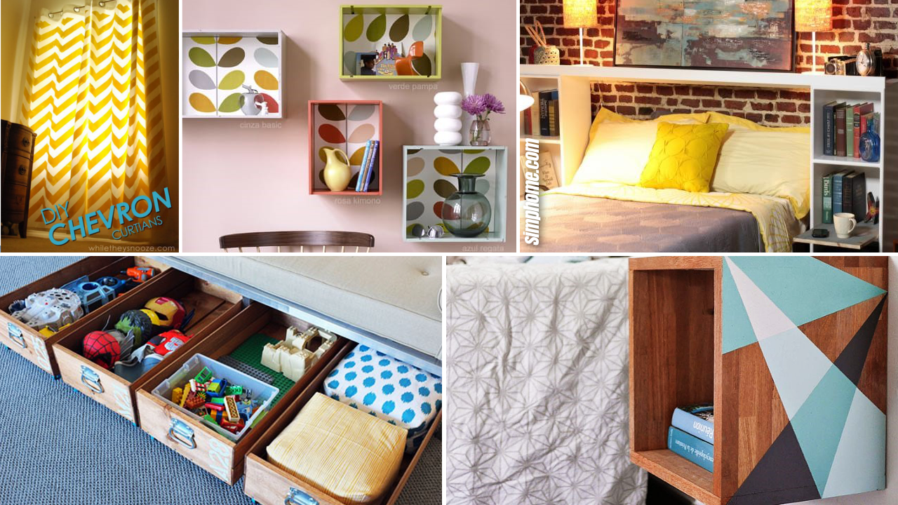 10 DIY Small Bedroom Improvement and Cleaning Ideas via Simphome.com featured image