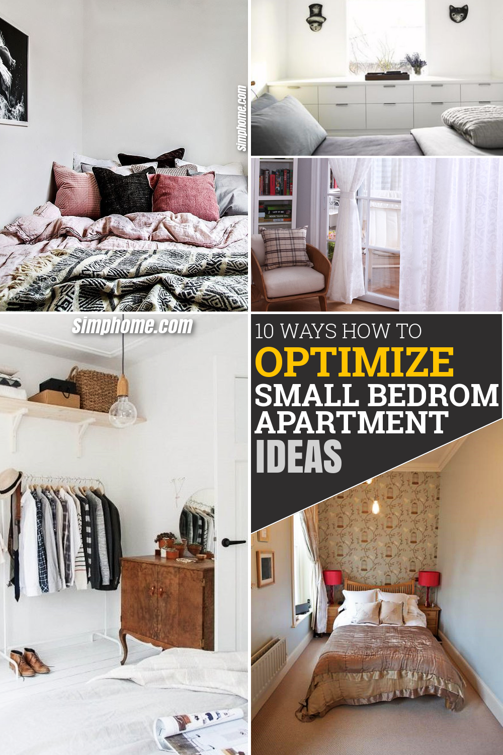 10 WAYS How to Optimize a Small Bedroom Apartment via Simphome Pinterest Featured Image