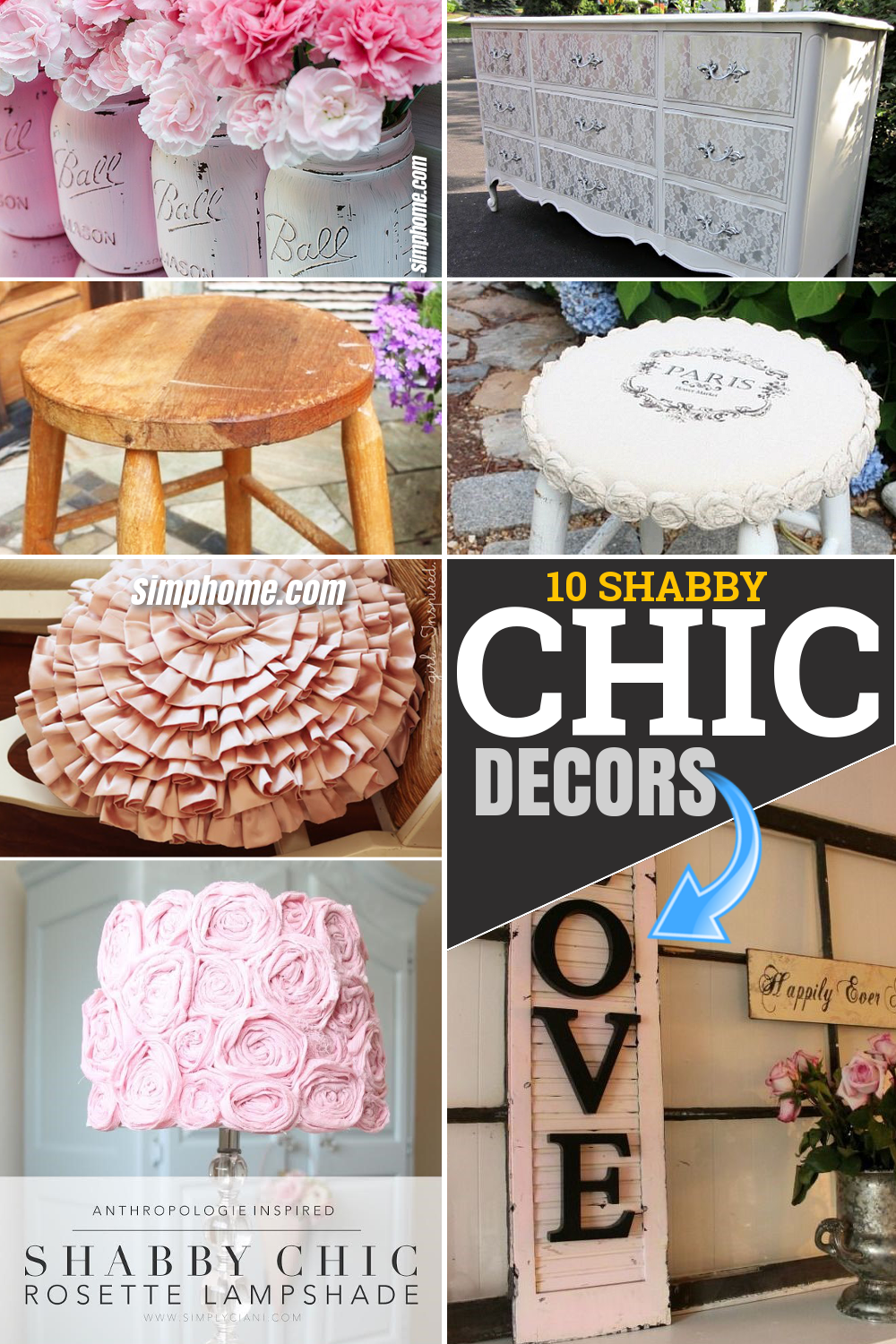 10 DIY Shabby Chic Decor Pieces for Any Corner of Your Room via Simphome.com Pinterest Featured Image