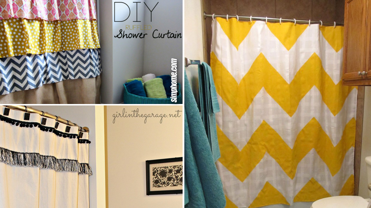 10 Low Cost and Simple DIY Shower Curtain Ideas via Simphome.com Featured image