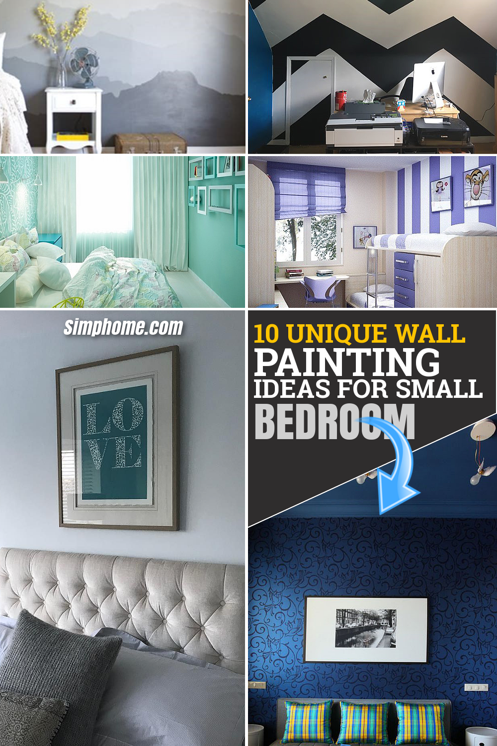 10 Unique Wall Painting Ideas for Small Bedroom via Simphome.com Featured Long Pinterest Image