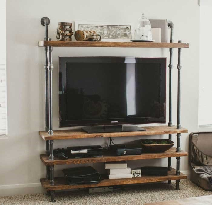 3. Pipeline and Wood TV Stand with Storage via Simphome
