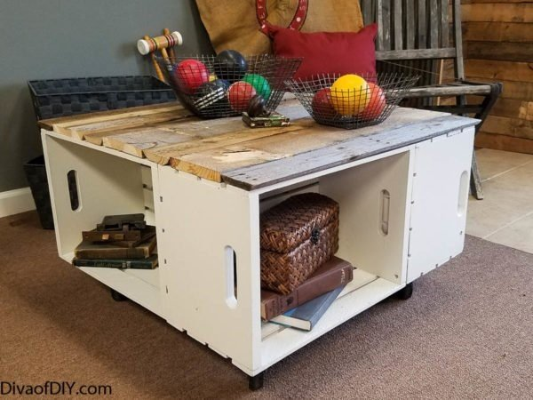 4. Rustic Coffee Table with Storage via Simphome