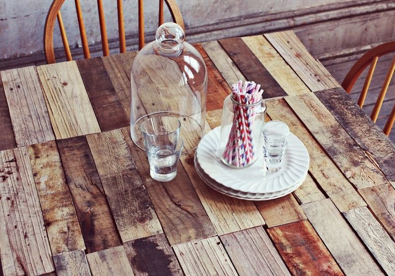 9. Wood Pallet Table with Hairpin Legs via Simphome