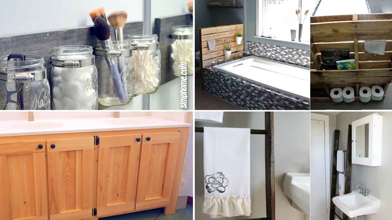10 DIY Rustic Furniture Projects for Your Bathroom via SIMPHOME.COM Featured image