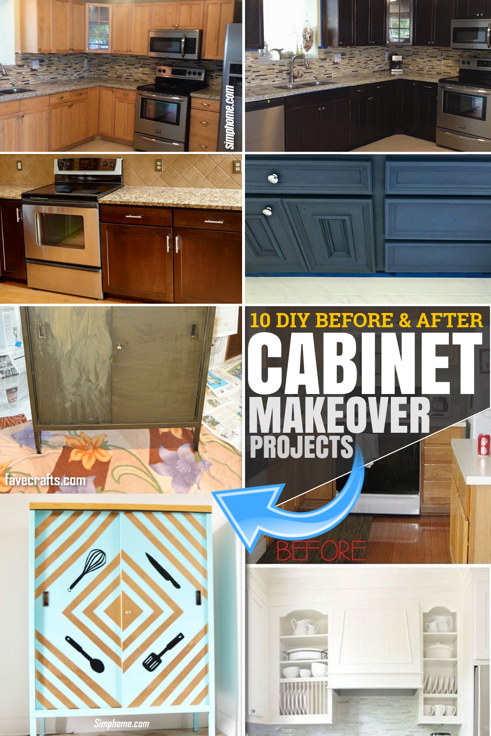 10 DIY before and after cabinet makeover projects via SIMPHOME.COM Featured Pinterest Image