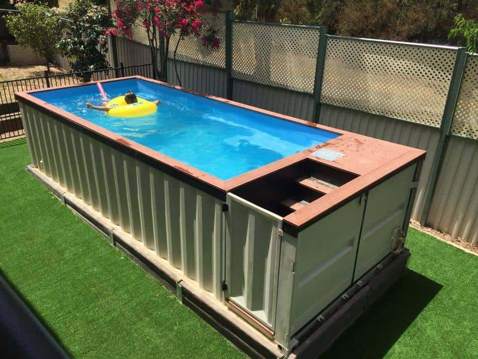2.Shipping Container Pool Side View via Simphome.com