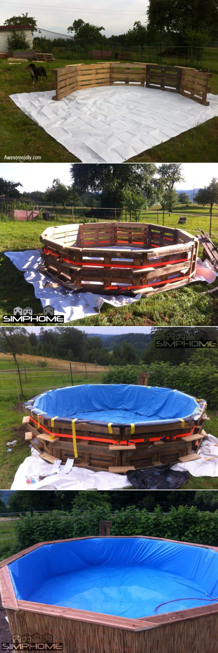 4.DIY Above Ground Pool from Wood Pallet via Simphome.com