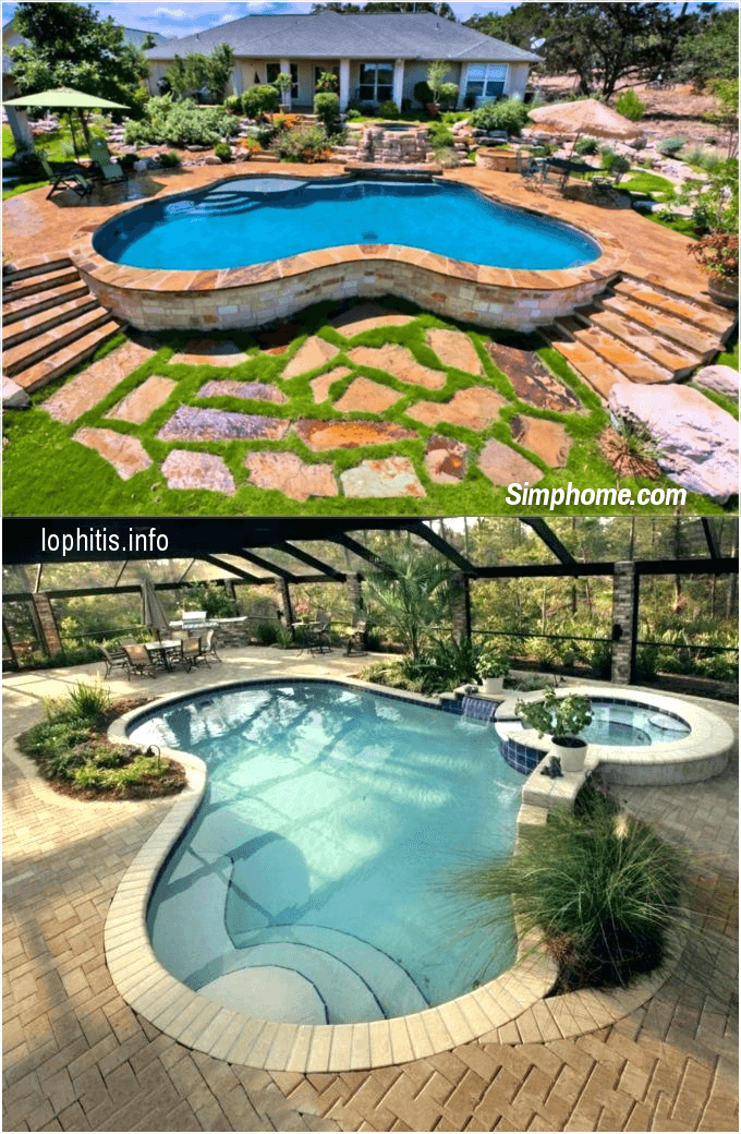 5.SIMPHOME.COM Free Style Above Ground Pool with Stone Deck
