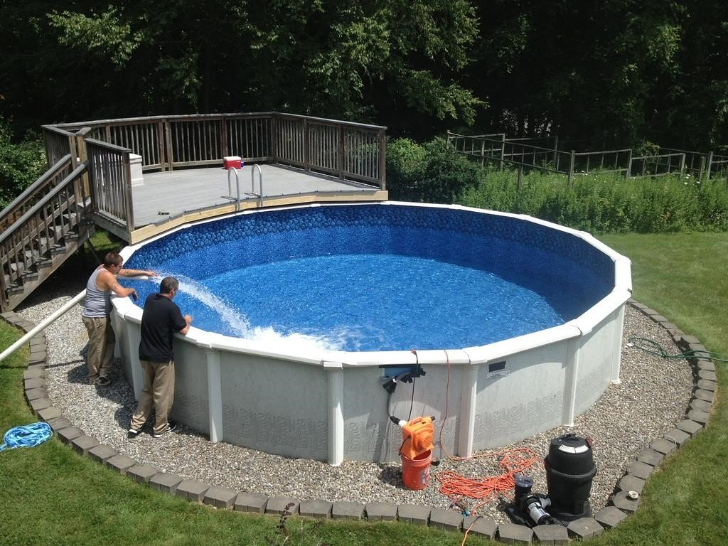 6.SIMPHOME.COM Rounded Above Ground Pool with Simple Deck