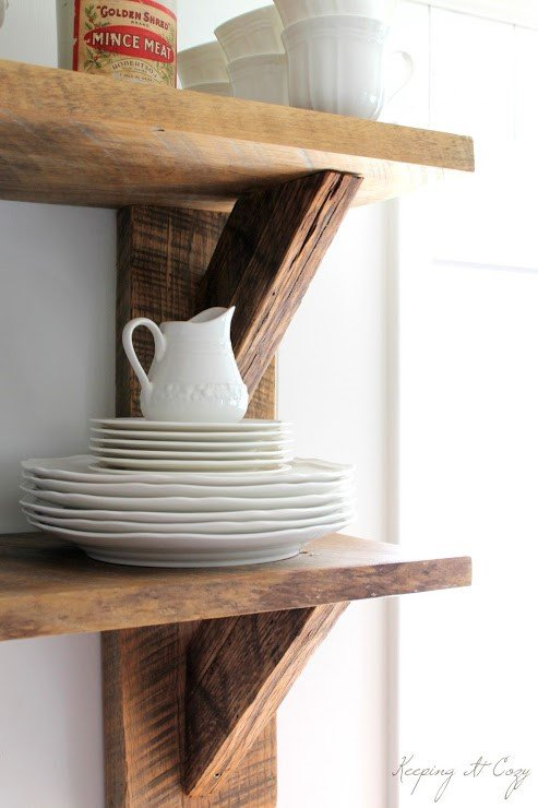 8. SIMPHOME.COM Wall Mounted Kitchen Shelves from Reclaimed Wood