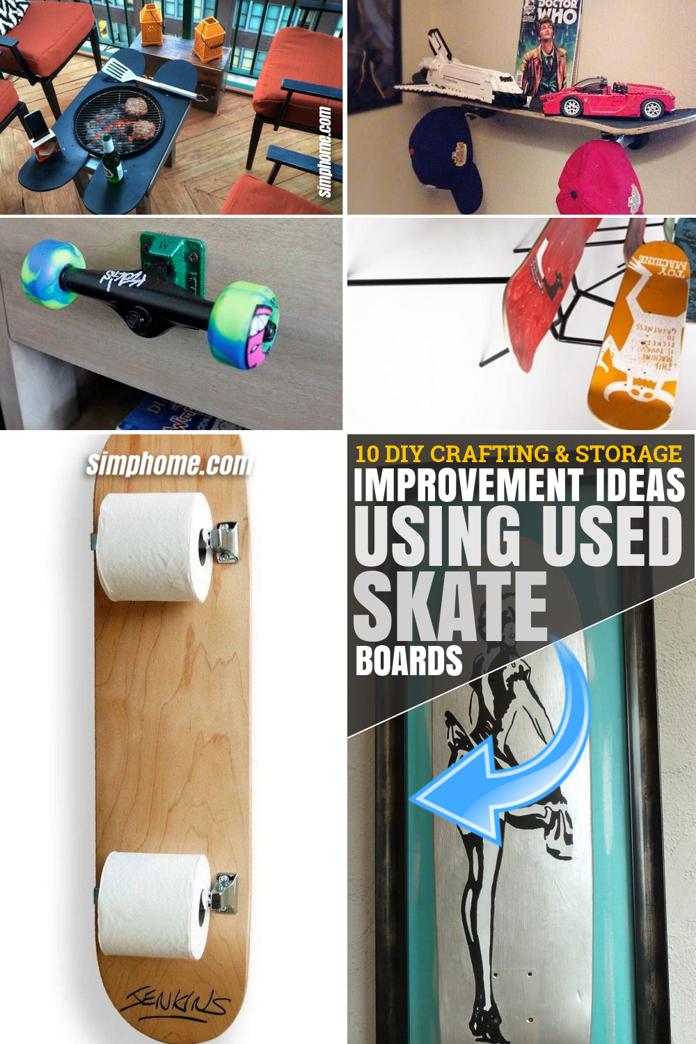 SIMPHOME.COM 10 DIY Crafting and Storage Improvement Ideas Using Used Skateboards Pinterest Featured Image