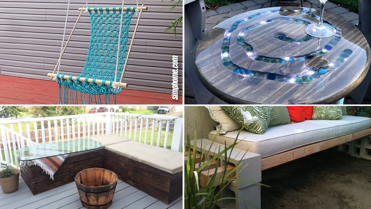 SIMPHOME.COM 10 DIY Patio Furniture Projects that are Cheap Featured Image