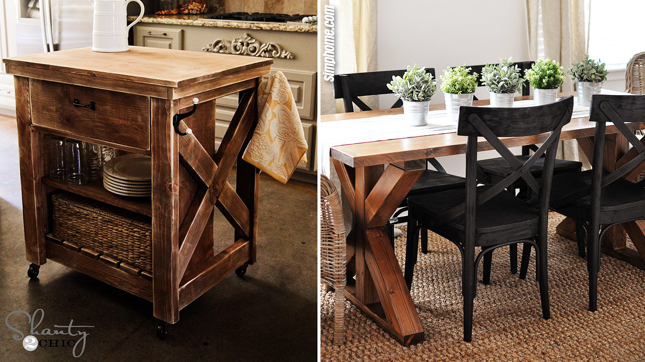 SIMPHOME.COM 10 DIY Rustic Furniture Ideas for Dining Room and Kitchen Featured Image