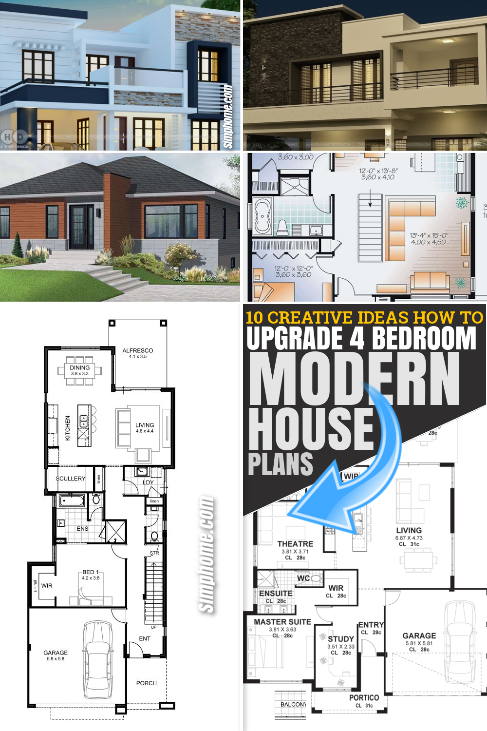 SIMPHOME.COM 12 SOME OF THE COOLEST CONCEPTS OF HOW TO UPGRADE 4 BEDROOM MODERN HOUSE PLANS Pinterest Featured