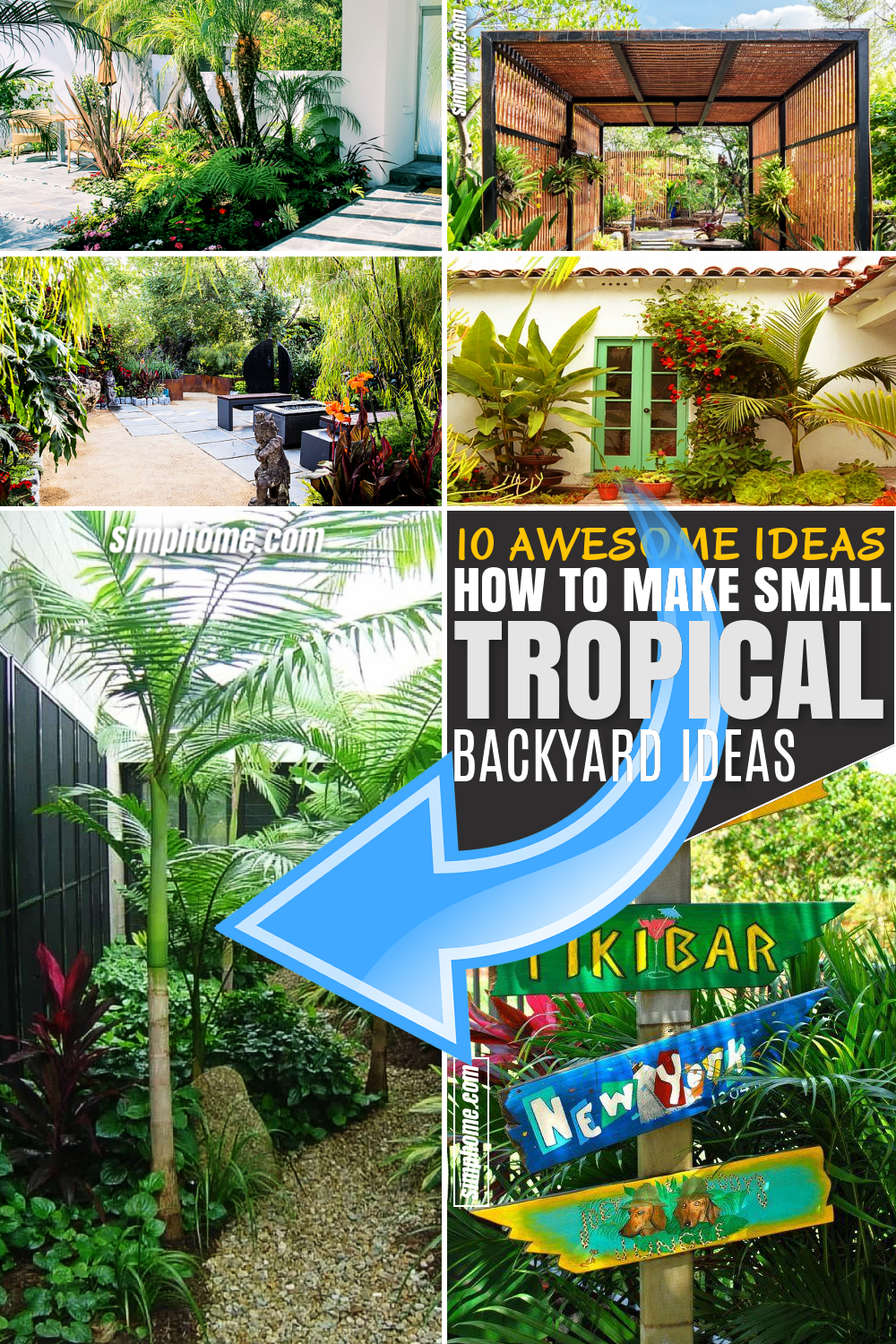 SIMPHOME.COM 10 Awesome Ideas How to Make Small Tropical Backyard Ideas Featured Pinterest