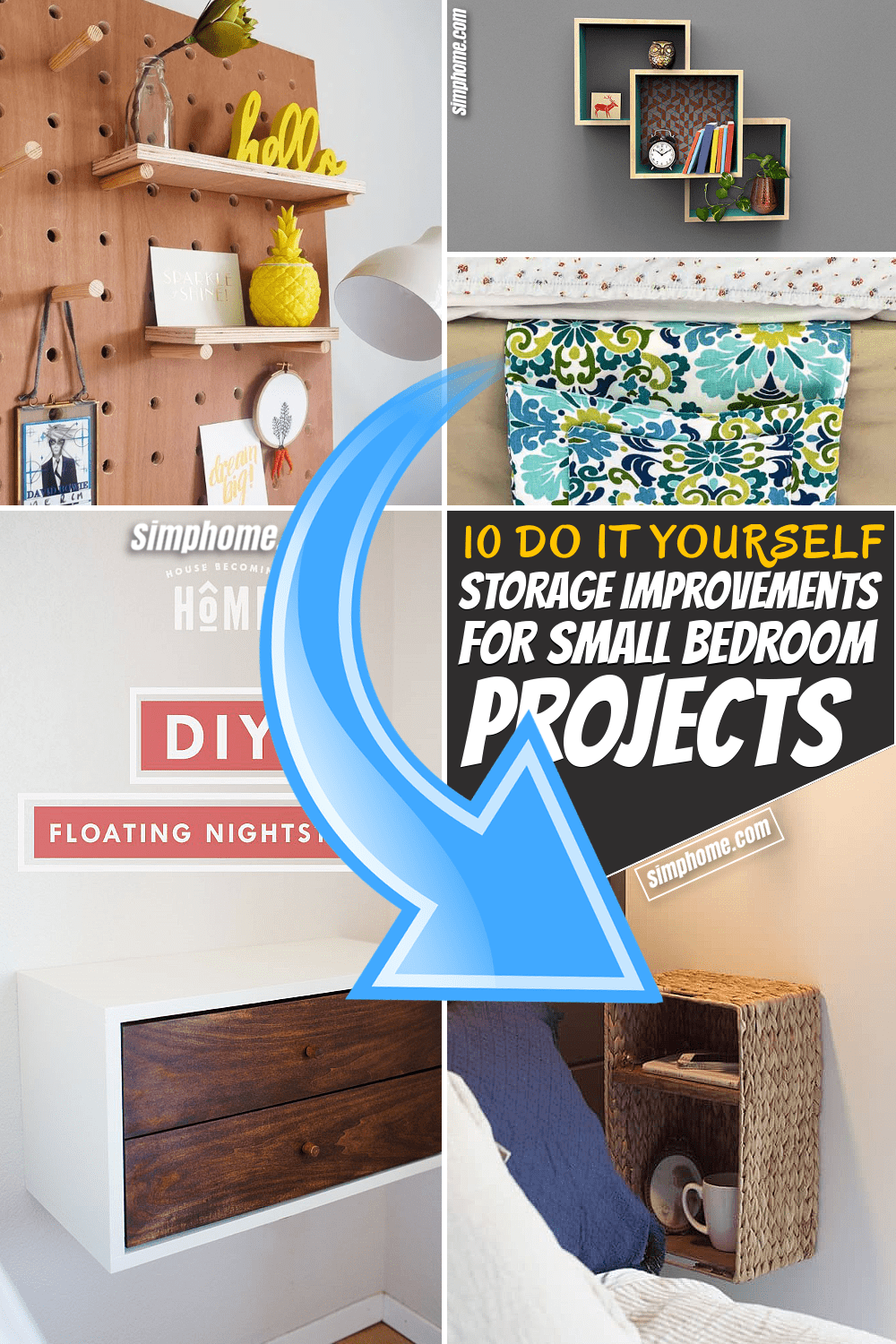 Simphome.com 10 DIY Storage Improvement Project for Small Bedroom Featured Pinterest Image