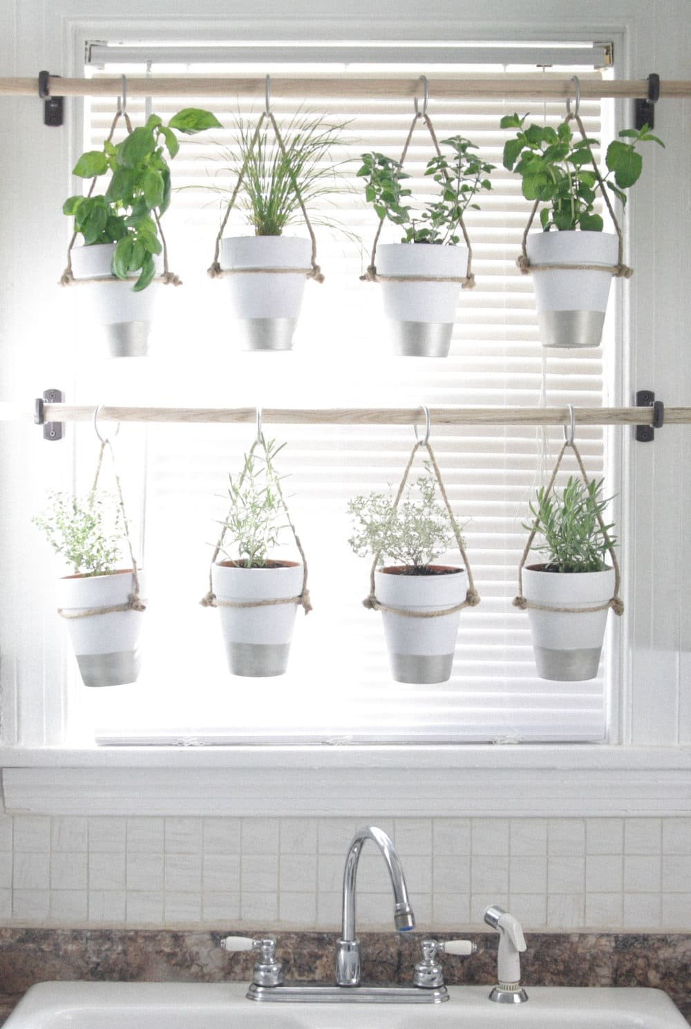 6.Simphome.com Hanging White Indoor Potted Herb Garden