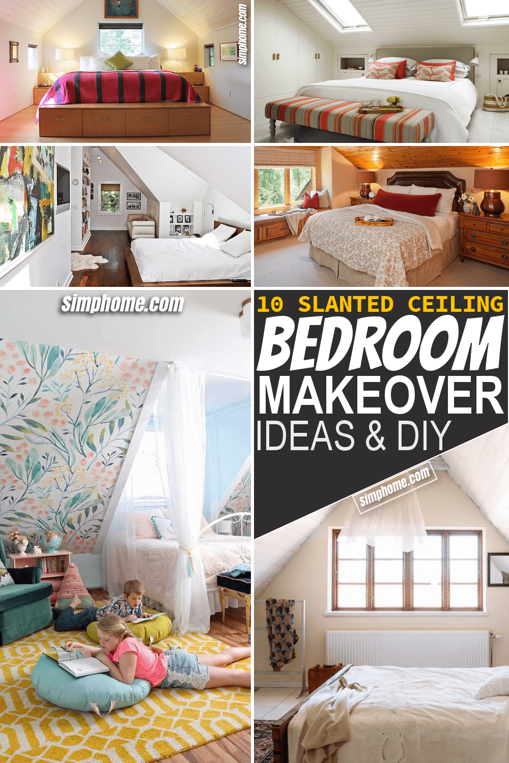 Simphome.com 10 Slanted Ceiling Bedroom Makeover Ideas Featured Pinterest Image