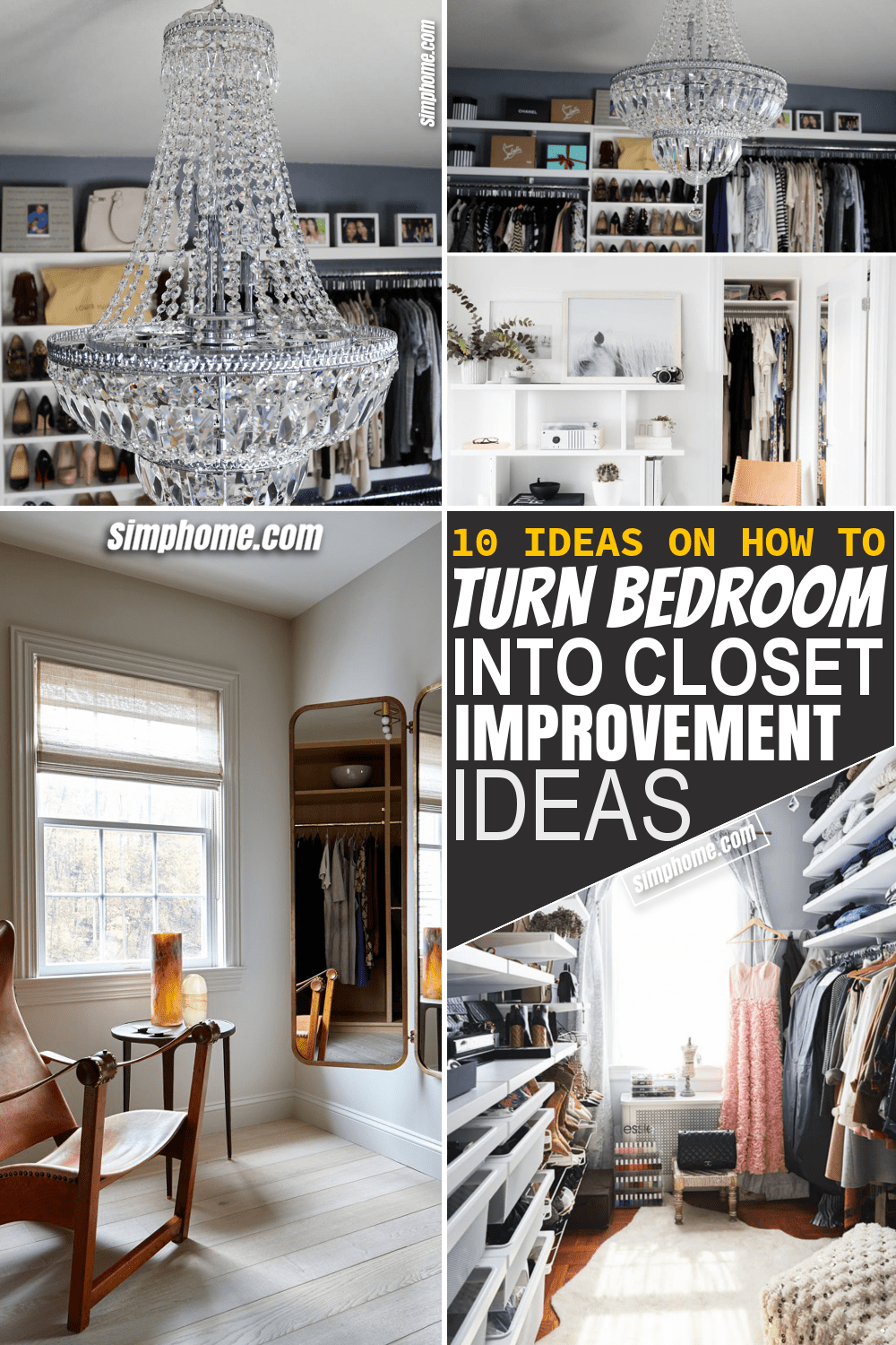 Simphome.com 10 ideas on how to turn a bedroom into a closet Featured Image