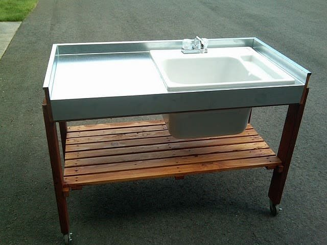 10.Simphome.com Movable Garden Sink with Casters