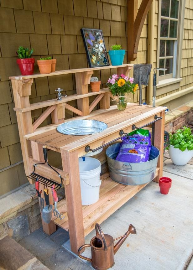 8.Simphome.com Garden Potting Bench with Sink