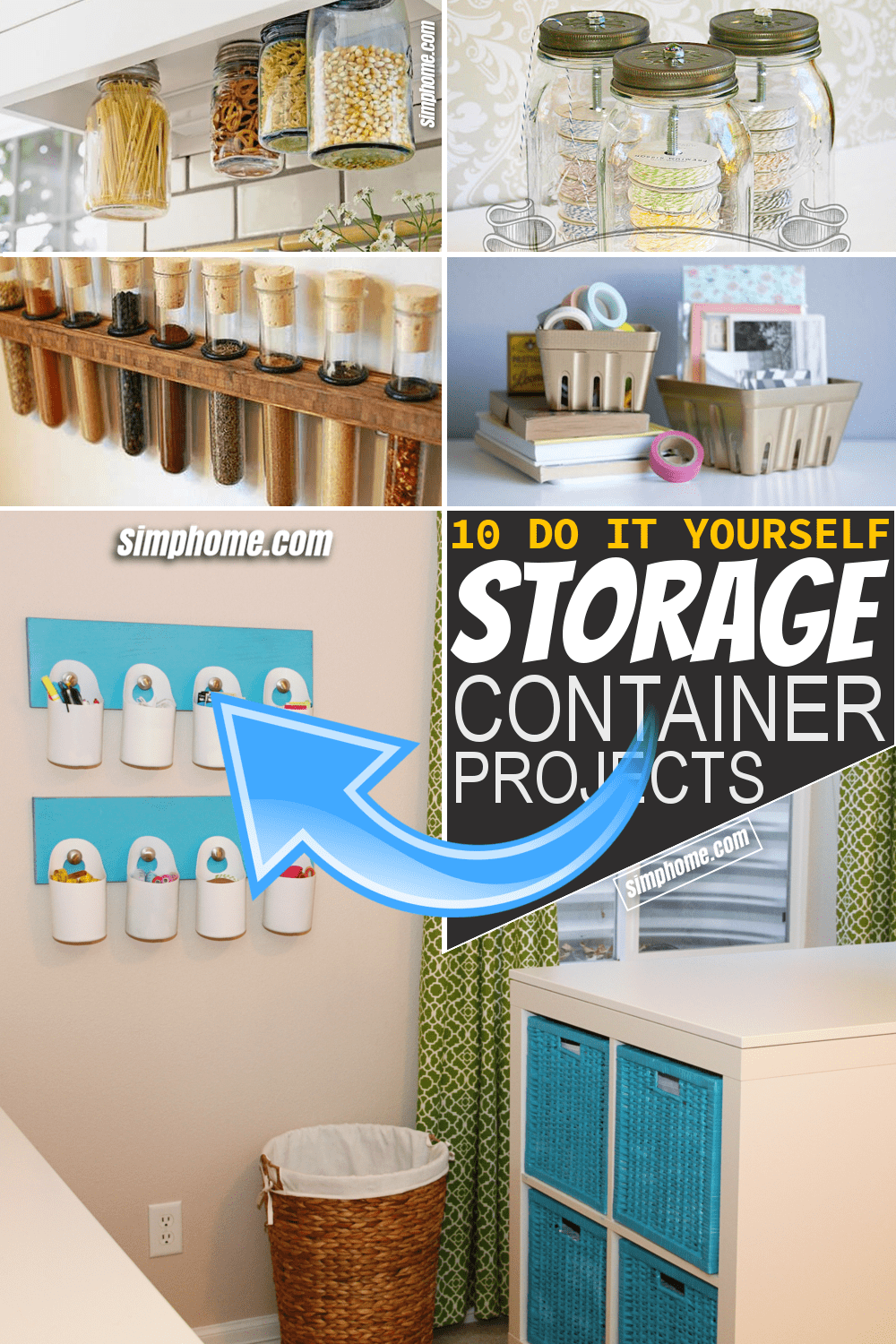 Simphome.com 10 DIY Storage Container Project Ideas Featured Pinterest Image