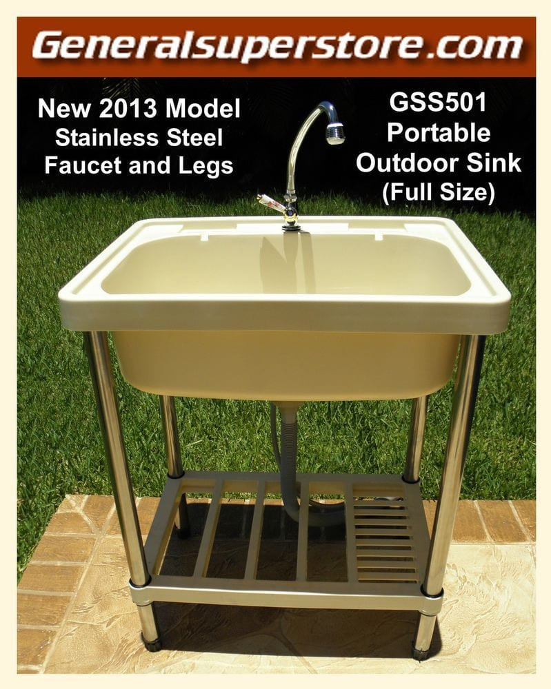 Simphome.com gss501 portable outdoor sink garden camp camping rv outdoor kitchen remodel
