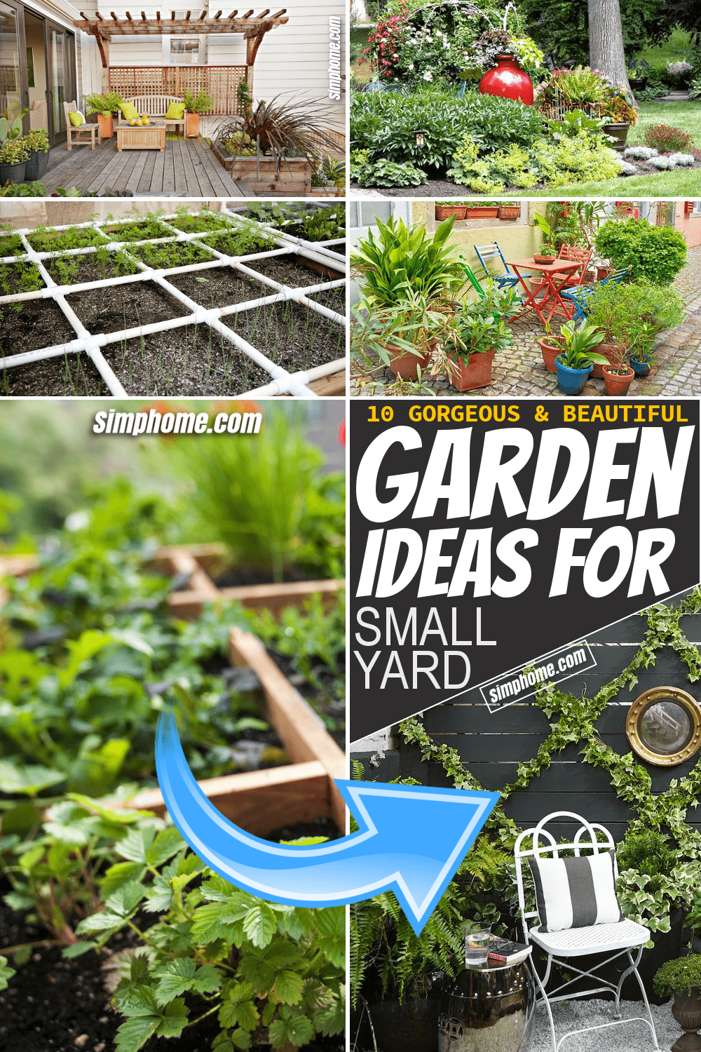 Simphome.com 10 garden ideas for small yard Pinterest featured image