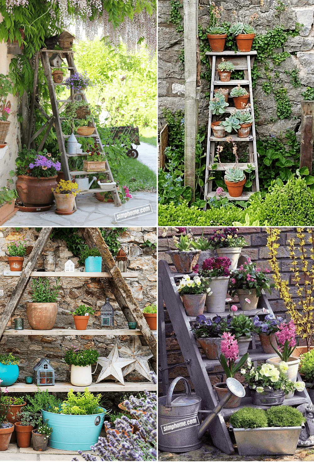 10.Simphome.com Use Old Ladders to Display Your Plants