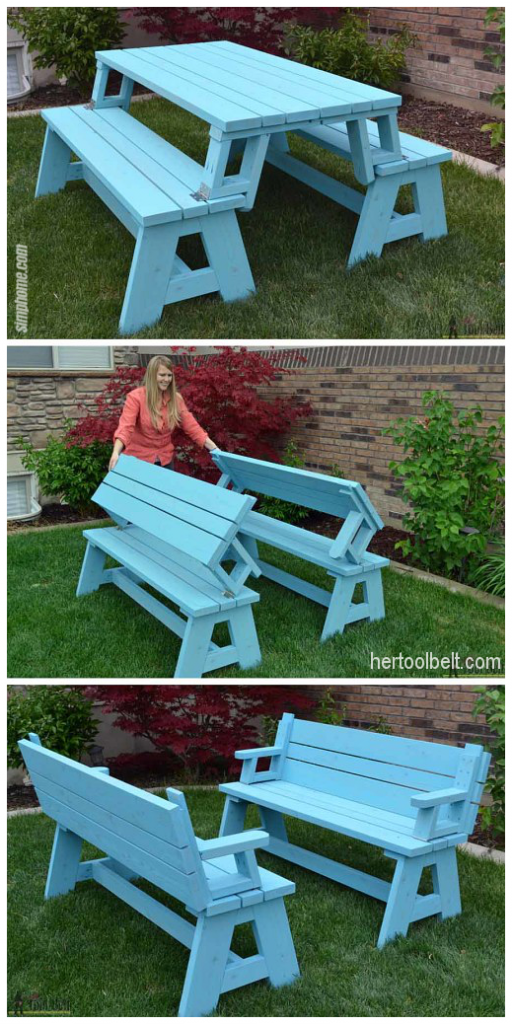 10.Convertible Picnic Table and Bench By Simphome.com