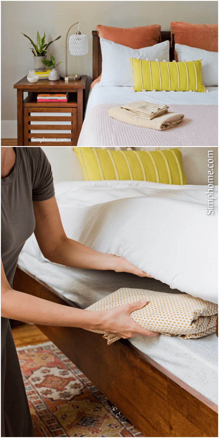 2.Put the Extra Sheets under Your Mattress by Simphome.com