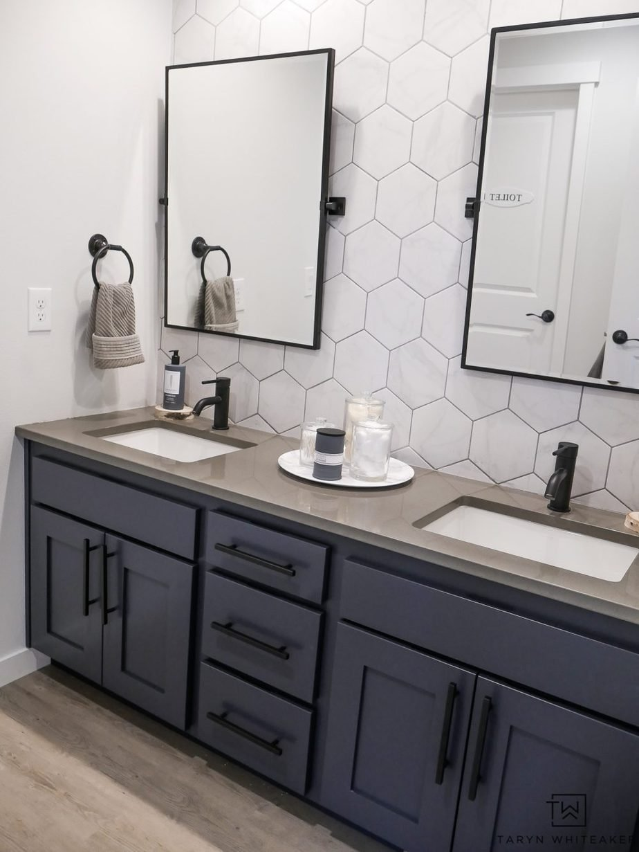 5.double sink bathroom makeover by Simphome.com