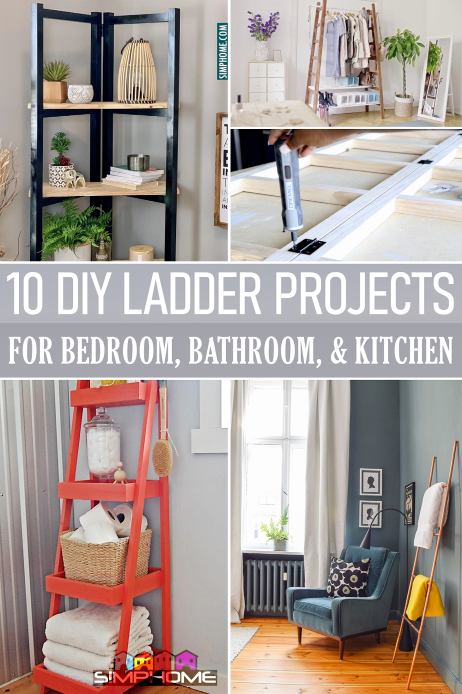10 DIY Ladder Project Ideas for Your Bedroom Bathroom and Kitchen via Simphome.comFeatured
