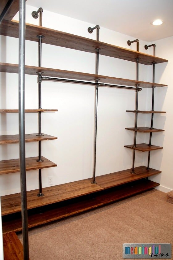 3. Build your own walk in closet system simply using pipes by simphome.com
